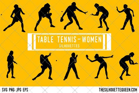 Female Table Tennis Player Table Tennis Volleyball Silhouette Table Tennis Player