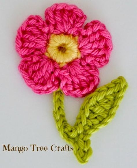 You'll want to add this colorful crochet flower applique to your favorite jacket, bag, and so much more!