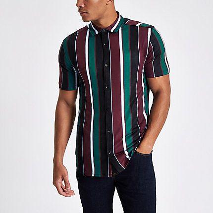 Mens Burgundy vertical stripe button-down shirt