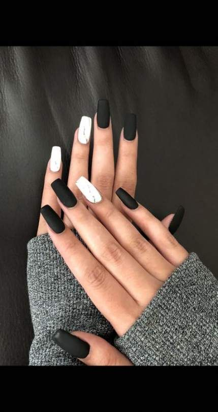 43 Ideas Nails Coffin Matte Marble White Acrylic Nails Black Nail Designs Solid Color Nails