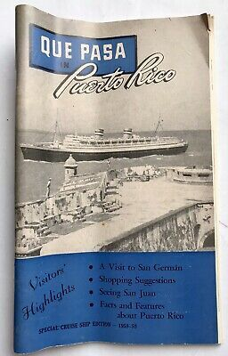 1958 Puerto Rico Que Pasa Cruise Edition Travel Guide Pan Am Eastern Air Ads Map In 2021 San Puerto Rico Pan Am