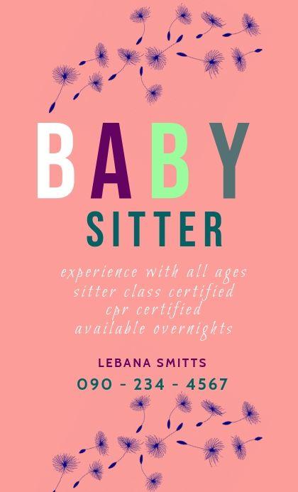 Baby Sitter Flyer Babysitting Flyers Babysitting Babysitting Jobs