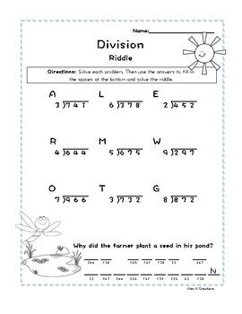 3 Digit By 1 Digit Division Without Remainders Spring Riddle Worksheet Remainders Riddles Math Help