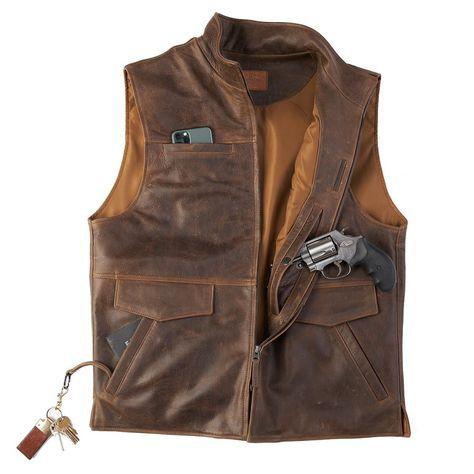 Cuir Vintage, Vintage Leather, Vintage Men, Concealed Carry Vest, Pocket Holster, Western Vest, Tactical Clothing, Men's Clothing, Disco Fashion