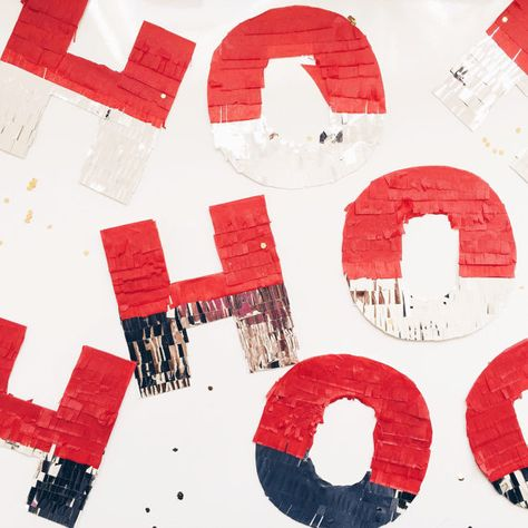 HOHOHO fringe banner These red and silver piñata style letters will make any space more festive and jolly! Listing details: - handcut and glued