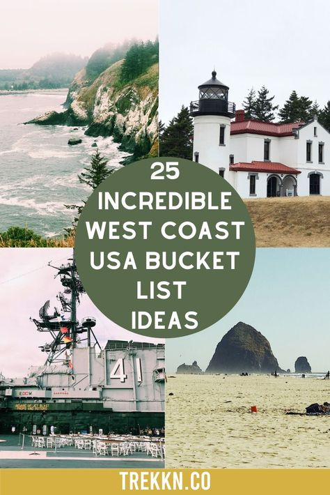 Are you planning a west coast trip anytime soon? After visiting the West Coast several times in our RV, we've compiled a list of some of the best stops to add to your bucket list. Some you've definitely heard of and some might be new to you. From extraordinary lighthouses and sea caves filled with seals to a military fort on an island and one gorgeous National Park, we have a list of must-visit places in Washington, Oregon and California. #bucketlist #usa #westcoast