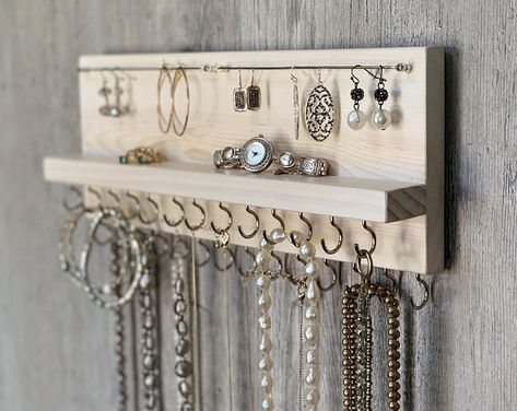 14 Gray Jewelry Organizer Necklace Holder with Silver Hooks - Wall Mounted Rust. - Gray Jewelry Organizer Necklace Holder with Silver Hooks – Wall Mounted Rustic Wood Neckla - Diy Jewelry Unique, Diy Jewelry To Sell, Vintage Jewelry, Handmade Jewelry, Rustic Jewelry, Luxury Jewelry, Jewelry Making, Jewellery Storage, Jewellery Display