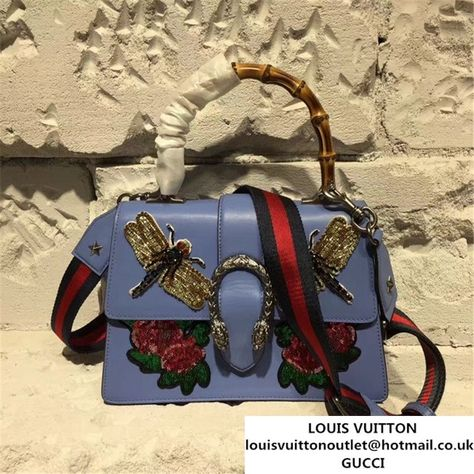 6ee9400d76d Gucci Dionysus Bamboo Top Handle Bag with Dragonfly and Roses Appliqus  Embroideries 28cm Spring Summer 2017 Collection Purple