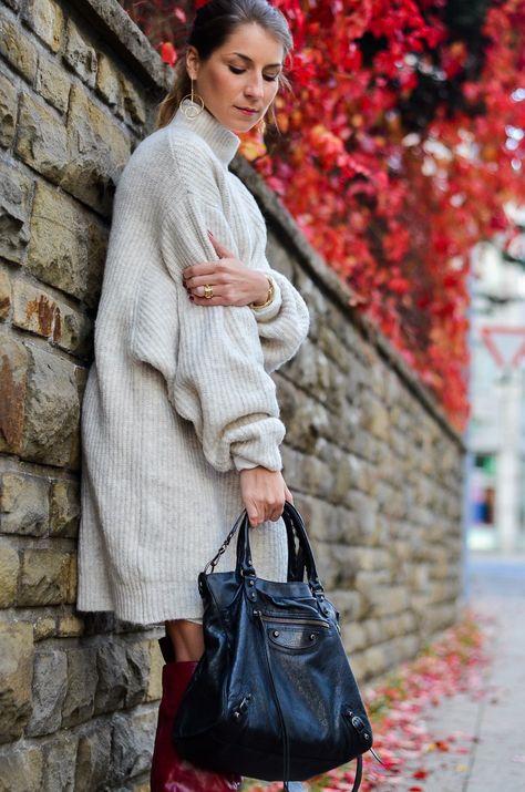 Grauer Mantel und braune Prada Tasche für Auszeit Ostern