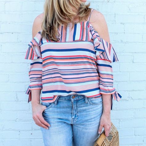 c52c8a5fa5612 Stripe Cold Shoulder Top with Tie Sleeves