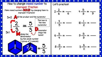 Mixed Number To Improper Fraction Practice Using Pattern Blocks