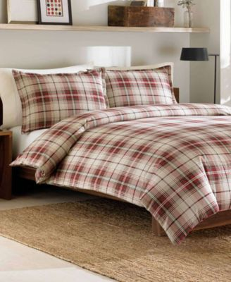 Eddie Bauer Montlake Plaid King Medium Red Flannel Duvet Cover Set Reviews Duvet Covers Bed Bath Macy S Comforter Sets Plaid Comforter King Comforter Sets