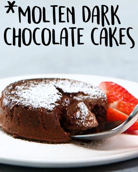 That ooey, gooey chocolate center is going to be the star of the menu #Molten Dark #Chocolate #Cakes #Tasty #Food #Videos #recipes