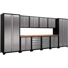 NewAge Products Pro Stainless Steel 83 In. H X 184 In. D Garage Cabinet Set  In Silver   The Home Depot