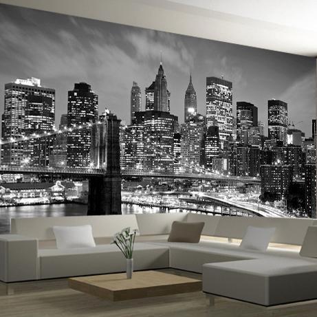 New York City Night Scenery 3d Photo Mural Wallpaper Landscape Black White Living Room 3d Wall Murals Tv Background Wall Sticker Photo Mural Wall Night Scenery Photo Mural