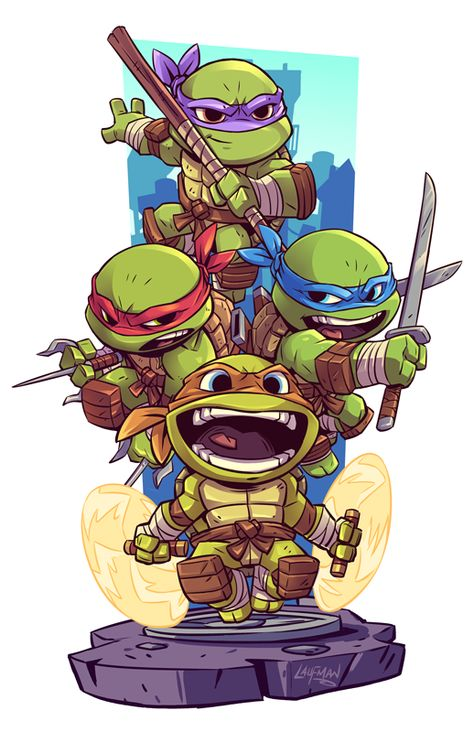 Ninja kaplumbağlar – Graffiti World Chibi Marvel, Marvel Art, Chibi Superhero, Ninja Turtles Art, Teenage Mutant Ninja Turtles, Ninja Turtles Cartoon, Tmnt, Cartoon Drawings, Cartoon Art