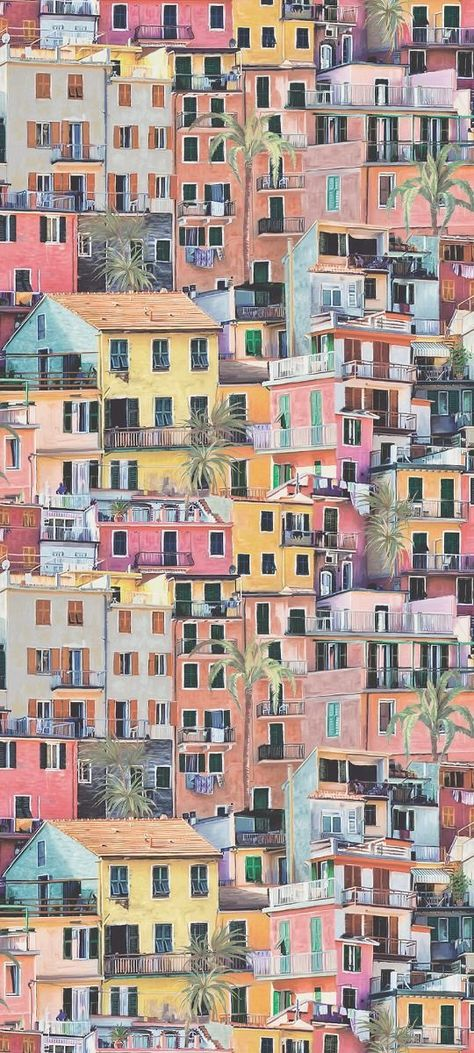 This village scene is typical of Liguria; a tumble of painted houses, interspersed with palm trees, facing out to sea with shuttered windows and terracotta tiled rooves. This terracotta/coral/aqua colourway is also presented as a fabric with two additiona Homescreen Wallpaper, Iphone Background Wallpaper, Aesthetic Iphone Wallpaper, Of Wallpaper, Designer Wallpaper, Aesthetic Wallpapers, Iphone Background Vintage, Vintage Phone Backgrounds, Tumble Wallpaper