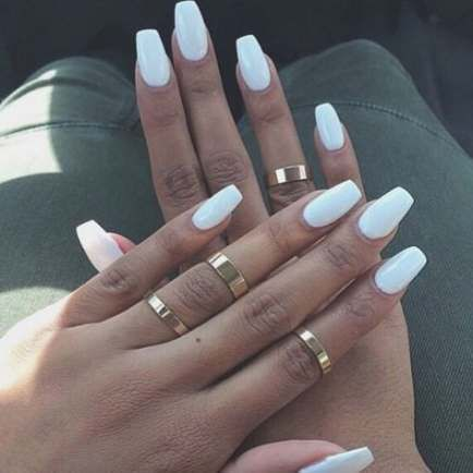 Image Result For Cute Acrylics Medium Square White Nails White Nail Polish Best White Nail Polish