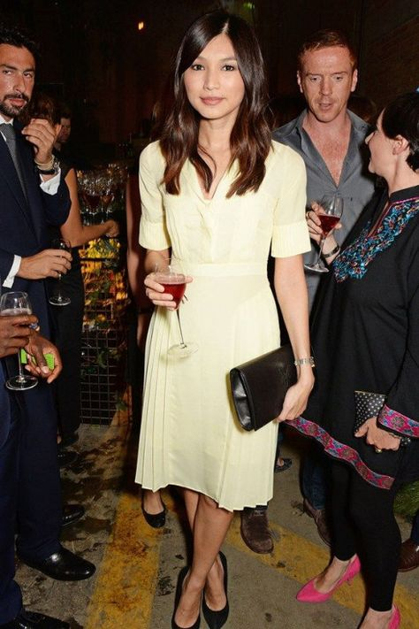 Gemma Chan. Top marks for this ladylike cream frock - looking good Gemma. #asianfashion #rich #asian #fashion