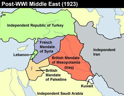 Mandates after WWI | Iraq map, Middle east, Map