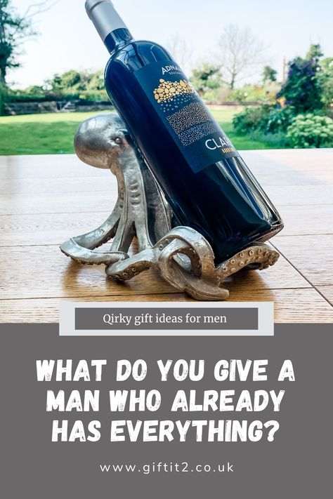 Stuck for best gift ideas for men? The Octopus Wine Bottle Holder is a brilliant quirky gift for him, and an unusual wine gift idea. For this and more see our full range of best gifts for men. #giftsforhim #giftsformen #winegift #giftit2