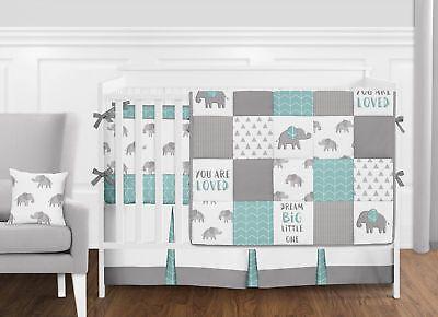 Modern Turquoise Grey White Patchwork Elephant Baby Boy Girl Crib
