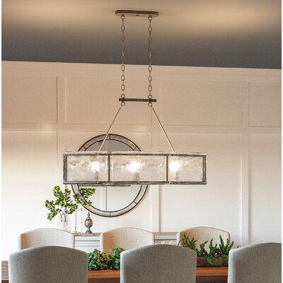 Highland Dunes Hasse 6 Light Kitchen Island Linear Pendant In 2020 Kitchen Lighting Craftsman Dining Room Craftsman Pendant Lighting