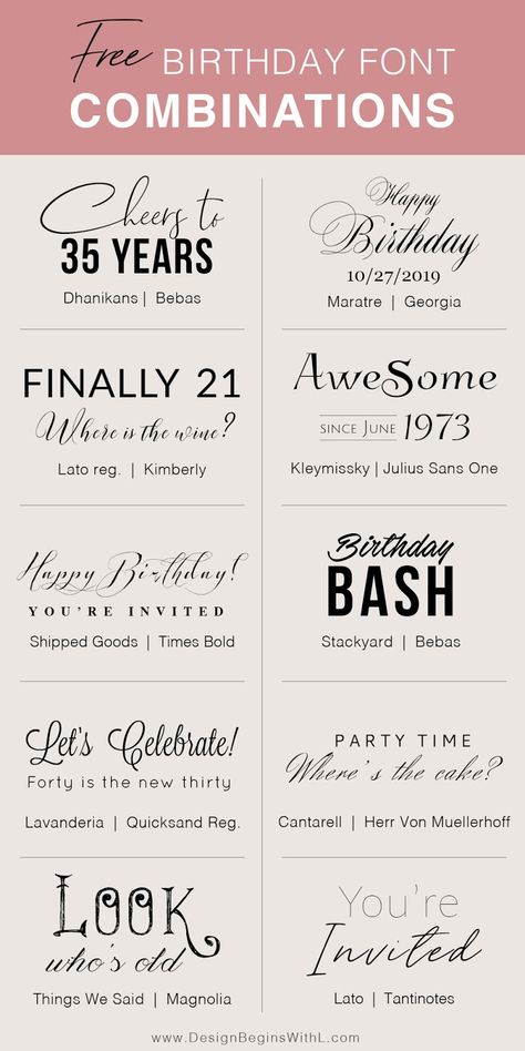 Free Birthday Font Combinations #freefonts #birthdayinvitations #weddinginspiration #fonts #fontpairing