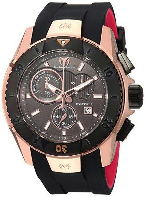 9290071133f7 Technomarine TM-616005 Men s Watch UF6 Rose Gold Black Swiss Chronograph  Black Rubber Strap