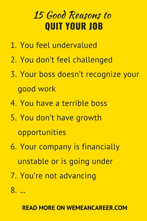 Good Reasons To Quit Your Job