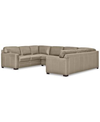 Furniture Avenell 3 Pc Leather Pit Sectional With Sofa Loveseat