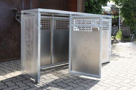 Mullbox Aus Feuerverzinktem Stahl Mit Alumium Fullungen Mulltonnenverkleidung Stahl Und Box