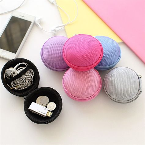 Mini Pocket Hard Case Box Handy Zipper Storage Bag For USB Cable Charger Earbuds
