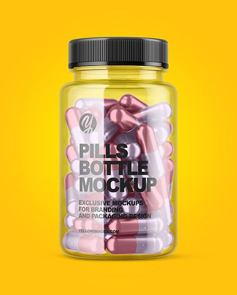 Clear Bottle With Metallized Pills Mockup In Bottle Mockups On Yellow Images Object Mockups Bottle Mockup Bottle Pills