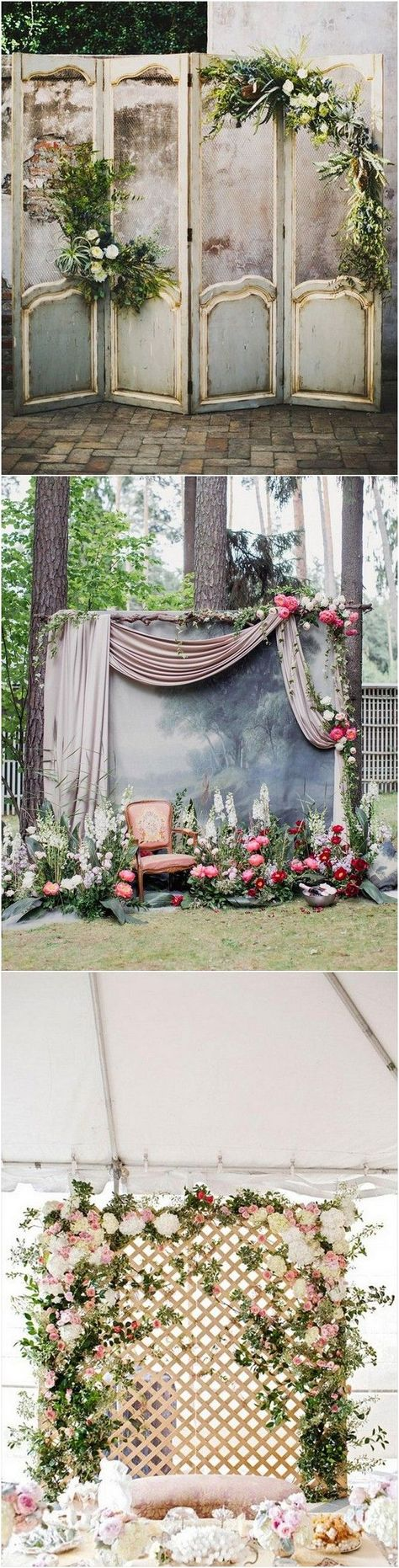 vintage door inspired wedding backdrop ideas with greenery decorations