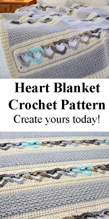Make a linked heart blanket. heart crochet pattern- crochet pattern pdf - valentines day pattern- amorecraftylife.com #heart #crochet #crochetpattern