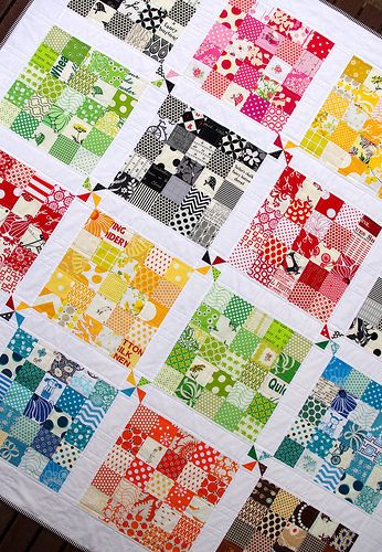 This quilt is fantastic for several reasons - one the color range is fabulous, but even more so, I love the varying color density within each block.  So visually interesting.