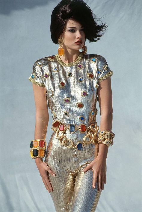 The good kind of chunky is a Chanel catsuit Shot for Vogue US by Patrick Demarchelier in the