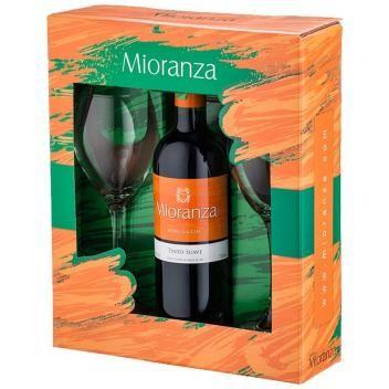 Kit Vinho Nacional Tinto Suave Garrafa 750ml 2 Tacas Mioranza