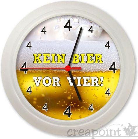 ANSEHEN #278 Wanduhr GAG-UHR /> Kein Bier vor vier /<