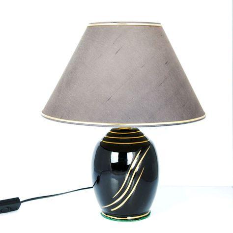 Tischlampe MIA silber schwarz Tischleuchte Leuchten Lampen Nachttischlampe