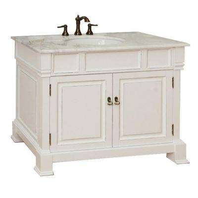 Olivia 42 In W X 35 1 2 In H Single Vanity In White With Marble Vanity Top In White Bellaterra Home Single Sink Bathroom Vanity Marble Vanity Tops
