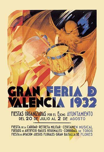 Gran Feria De Valencia 1932 By Luis Dubon Art Print Valencia Art Prints Vintage Advertisement