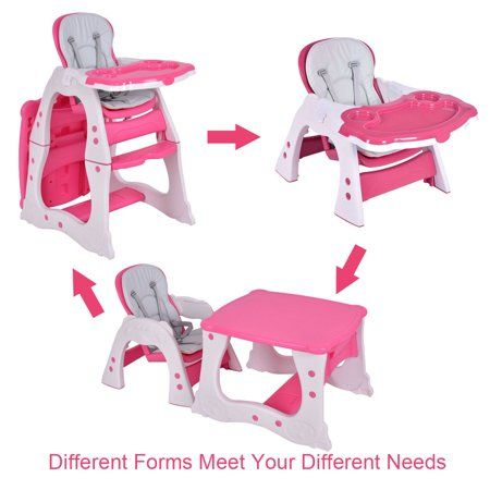 Enjoyable Costway 3 In 1 Baby High Chair Convertible Play Table Seat Caraccident5 Cool Chair Designs And Ideas Caraccident5Info