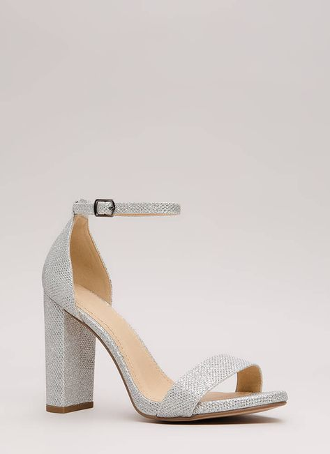 Evening To Remember Glitter Chunky Heels SILVER LTGOLD