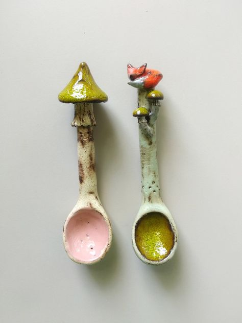 Set Of Two Spoons/green mushroom and fox spoons/murava ceramics/tableware/Funny gift/Home Decor/ salt sugar spoon/kitchen decor/foody gift Set Of Two Spoons/green mushroom and fox spoons/murava Ceramic Spoons, Ceramic Pottery, Pottery Art, Ceramic Art, Slab Pottery, Pottery Wheel, Pottery Studio, Pottery Painting, Pottery Ideas