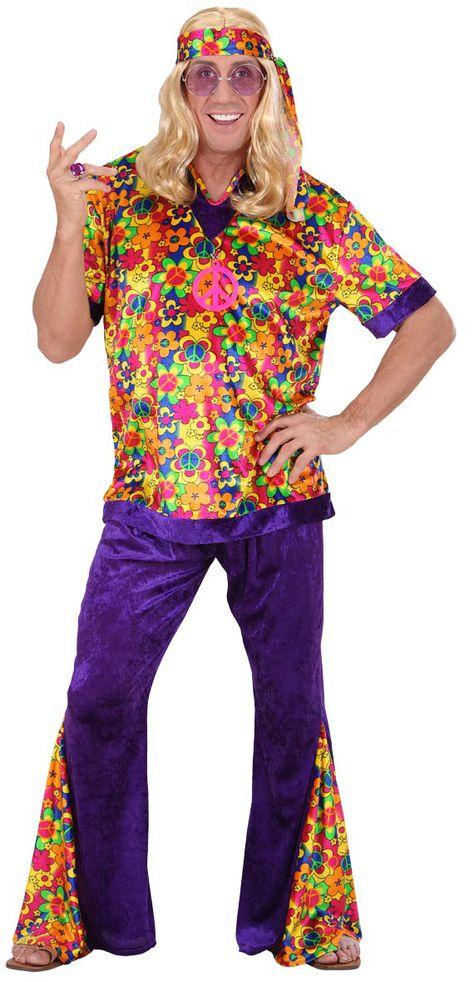 Leggings rosa discoteca 70er 80er anni Costume Flowerpower Donna Hippie Velluto Gogo
