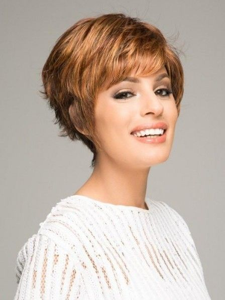 Boycut Short Synthetic Capless Wig Balayage Hair Blonde Highlights Auburn Balayage