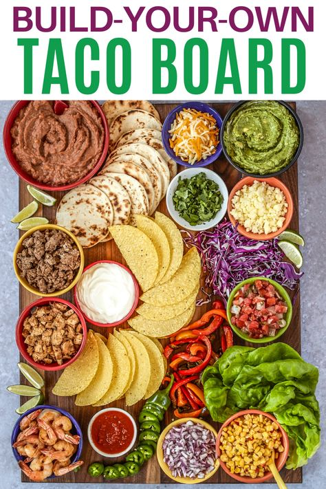 Build-Your-Own Taco Board and More Festive Mexican-Inspired Boards Charcuterie Recipes, Charcuterie And Cheese Board, Charcuterie Platter, Cheese Boards, Party Ideas, Party Food Platters, Party Food Bars, Mexican Food Recipes, Charcuterie Board