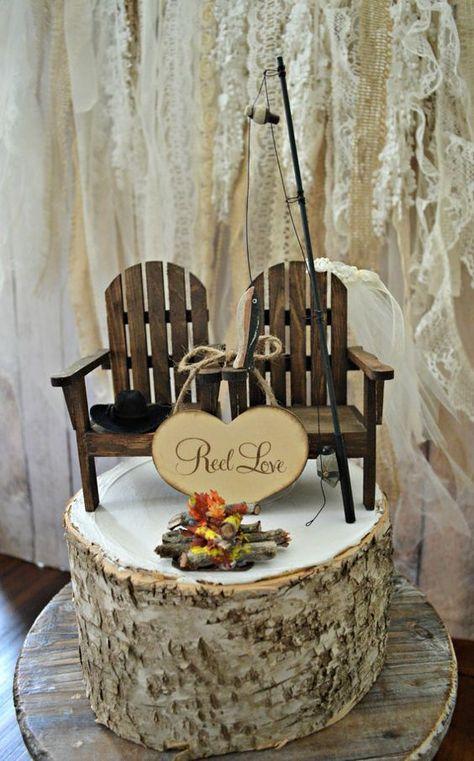 fishing camping themed wedding cake topper fishing pole camp fire rh pinterest ru